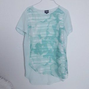 Mossimo Mint Blouse Sheer S  Floral Panel Print